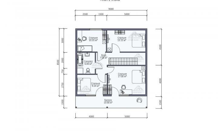 планировка второго этажа каркасного дома под ключ в Санкт-Петербурге