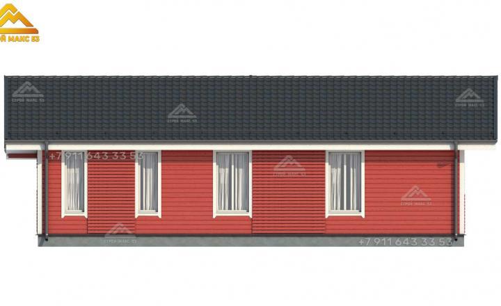 3-д проект одноэтажного каркасного дома со вторым светом вид сзади