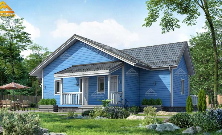 одноэтажный каркасный зимний дом со вторым светом вид сзади