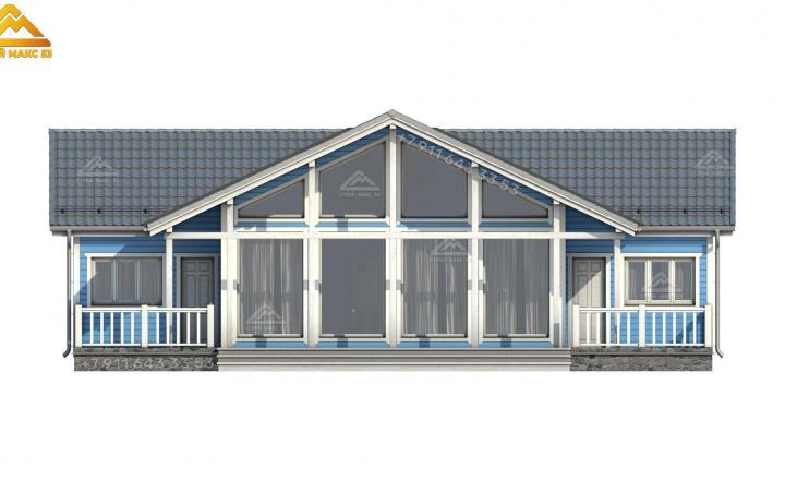 3-д проект одноэтажного каркасного дома 15х14 м вид спереди