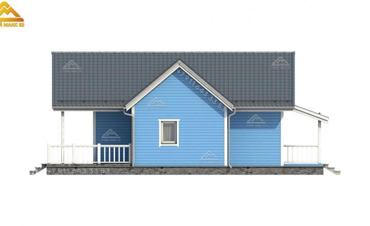 3-д эскиз бокового фасада каркасного зимнего дома со вторым светом