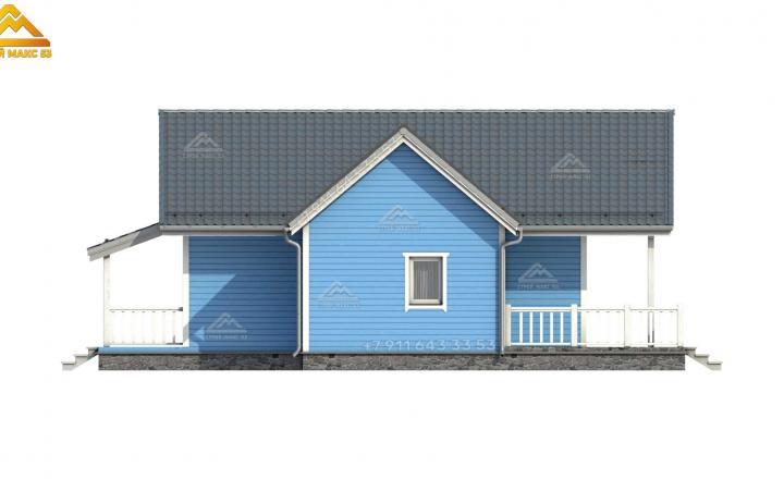 3-д визуализация бокового фасада каркасного зимнего дома