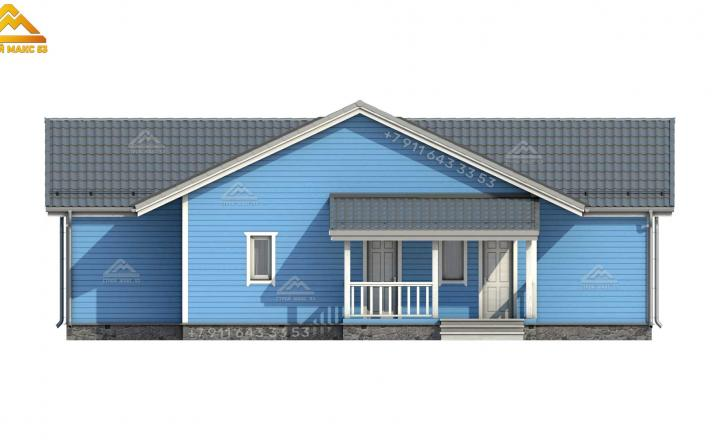 3-д рисунок каркасного зимнего дома со вторым светом вид сзади