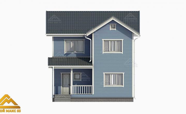 финский дом 10 на 8 с мансардой 3D-рисунок