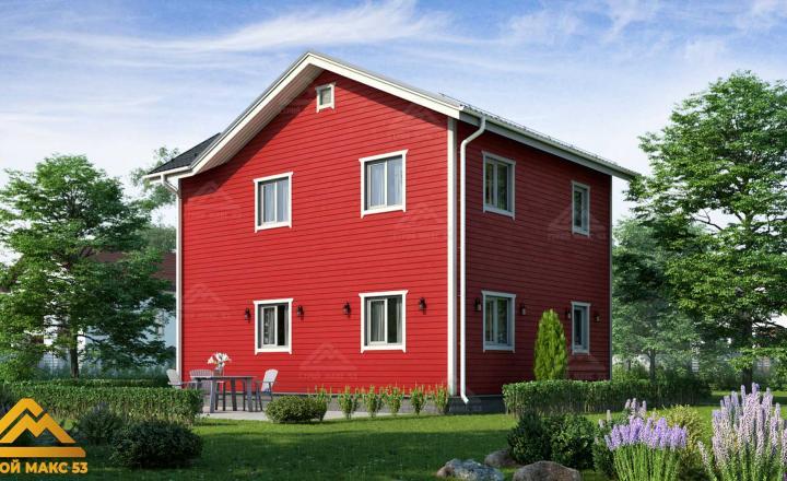 финский дом с мансардой красный фасад