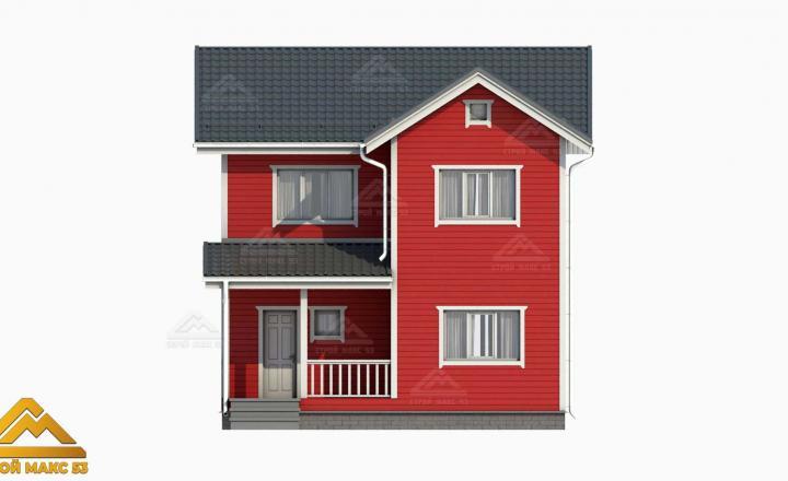 3-д визуализация финского дома 10 на 8 с эркером