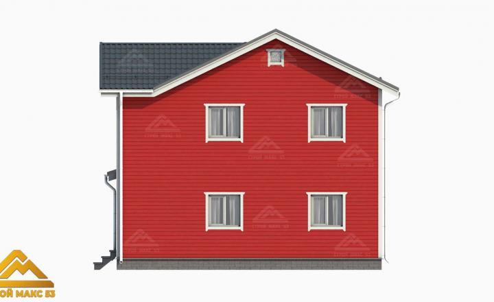 3д-проект фасад финского дома 10х8 сзади