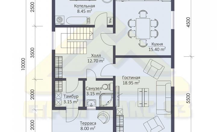 поэтажный план финского дома 10х8