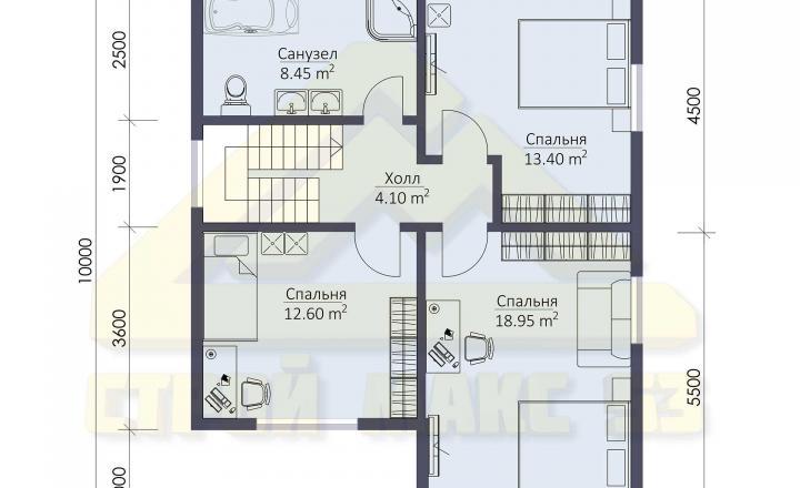 план второго этажа финского дома с мансардой