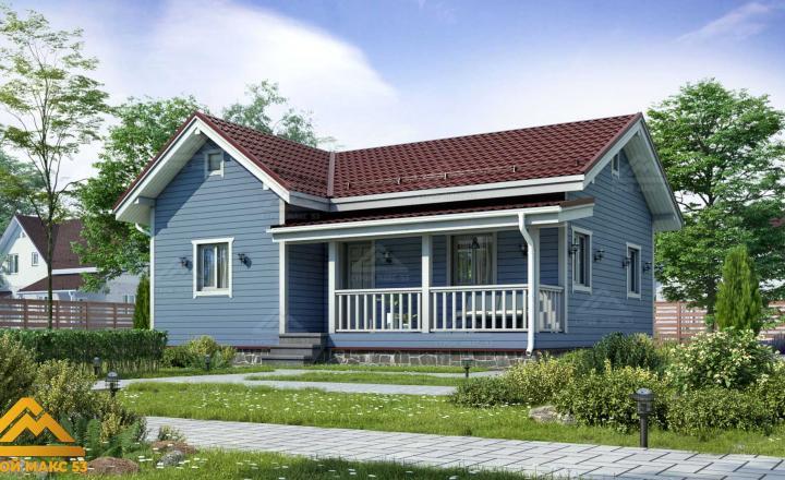 финский одноэтажный дом с террасой