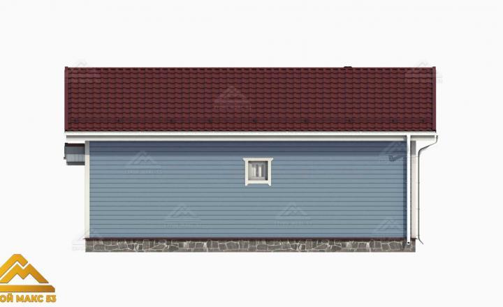 3D-рисунок финского дома с верандой голубого цвета