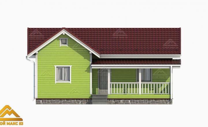3-д модель фасада финского одноэтажного дома зеленого цвета