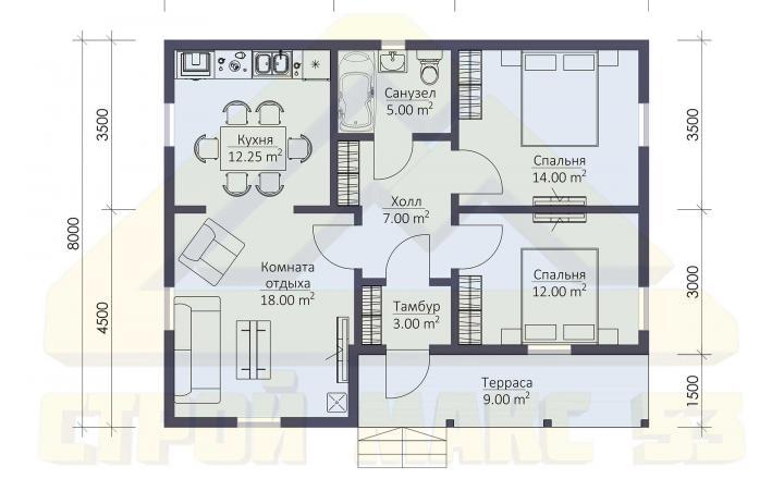 план этажа финского коттеджа 10 на 8