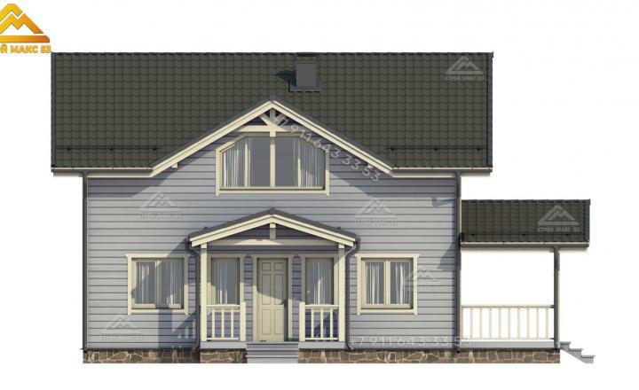 3-Д изображение фасада каркасного дома 12х10 м вид спереди