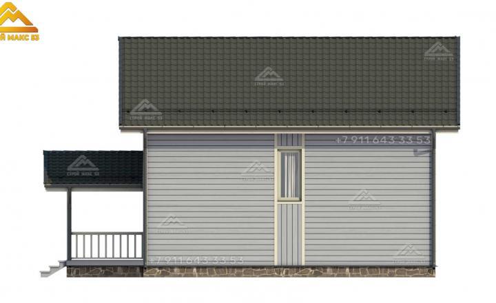 3-д проект двухэтажного каркасного дома под ключ вид сзади