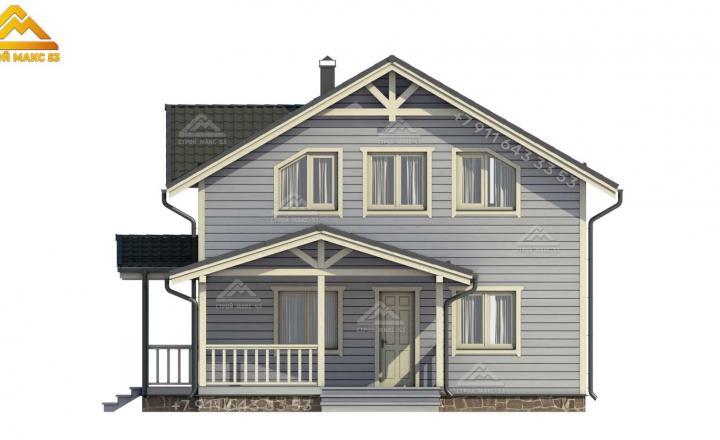 3-д эскиз бокового фасада каркасного дома под ключ СПб