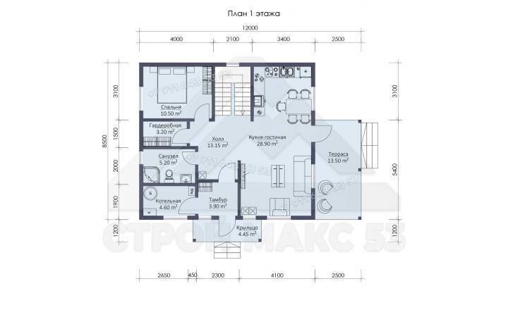 планировка первого этажа каркасного дома под ключ в 12 на 10 м