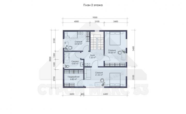 планировка второго этажа каркасного дома под ключ в 12 на 10 м