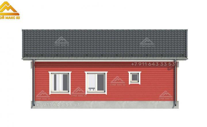 3-д визуализация фасада каркасного дома 11х9 м вид сзади