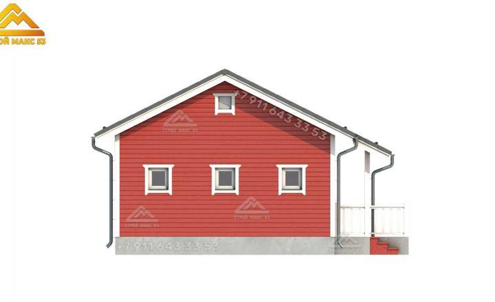 3-d визуализация бокового фасада каркасного дома СПб