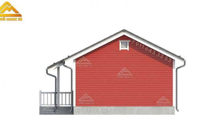 3-д эскиз бокового фасада каркасного дома СПб