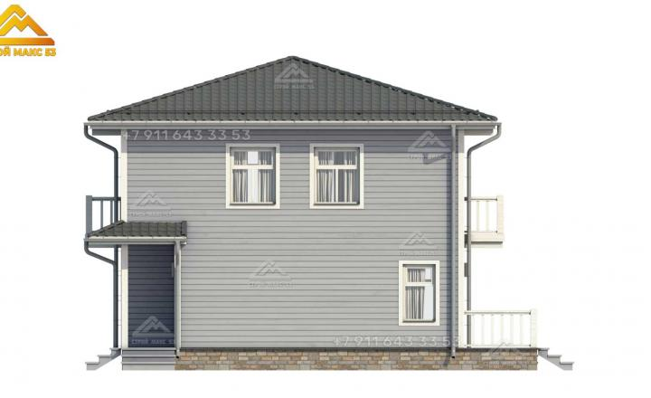 3-д визуализация бокового фасада каркасного дома в Санкт-Петербурге под ключ