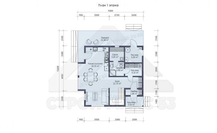 планировка первого этажа каркасного дома 10х9 в Санкт-Петербурге