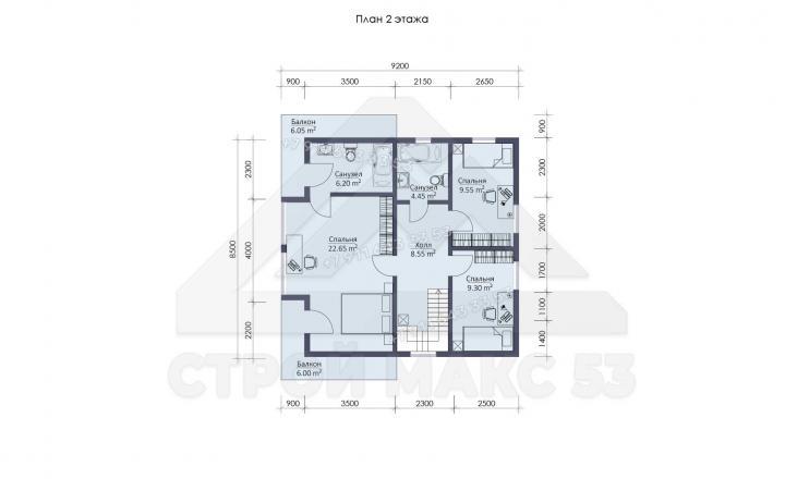 планировка второго этажа каркасного дома 10х9 в Санкт-Петербурге