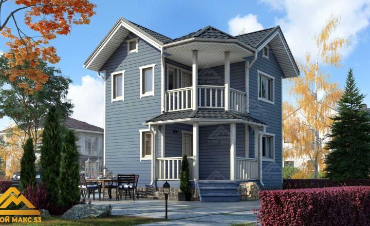 финский дом с балконом 6х6