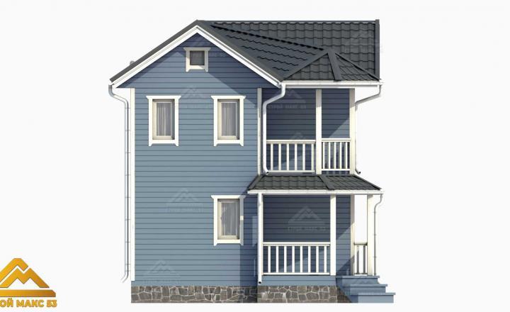 3-д проект финского дома с балконом 6х6