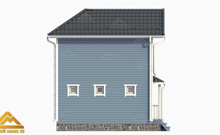 3-д фасад финского дома 6х6 с балконом вид сбоку