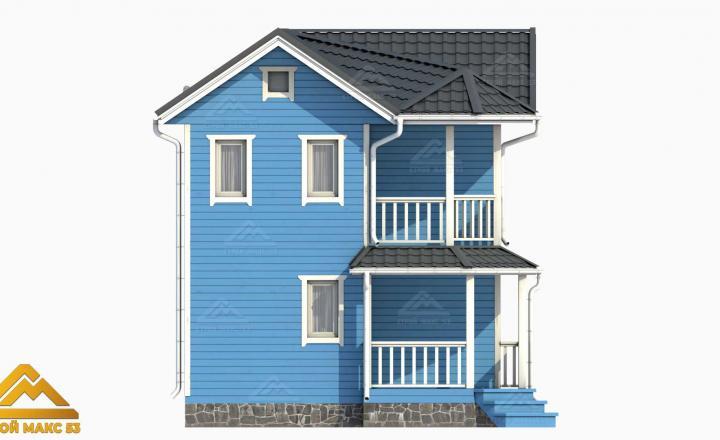 голубой фасад финский дом 3-д план вид сбоку