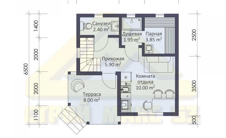 план первого этажа финского дома 6 на 6