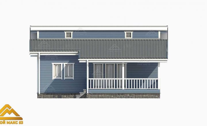 3-д модель фасада финского одноэтажного дома 10х12