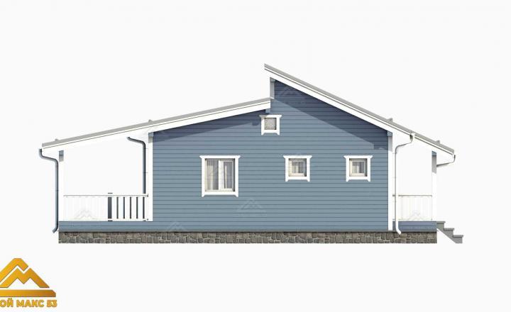 3-д рисунок фасада финского дома 10 на 12 сбоку