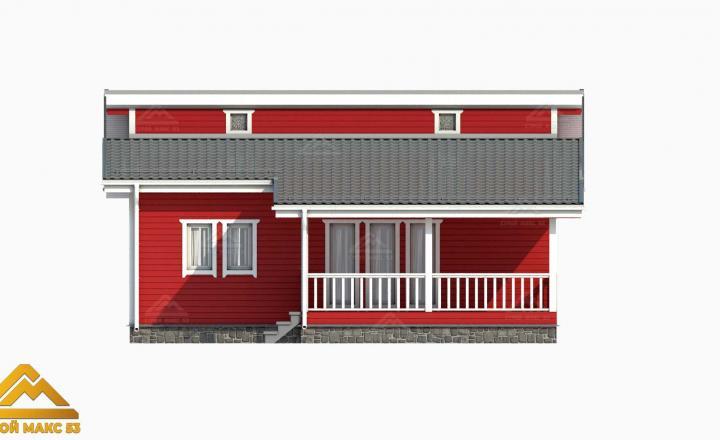 фасад финского дома с террасой 3-д вид спереди