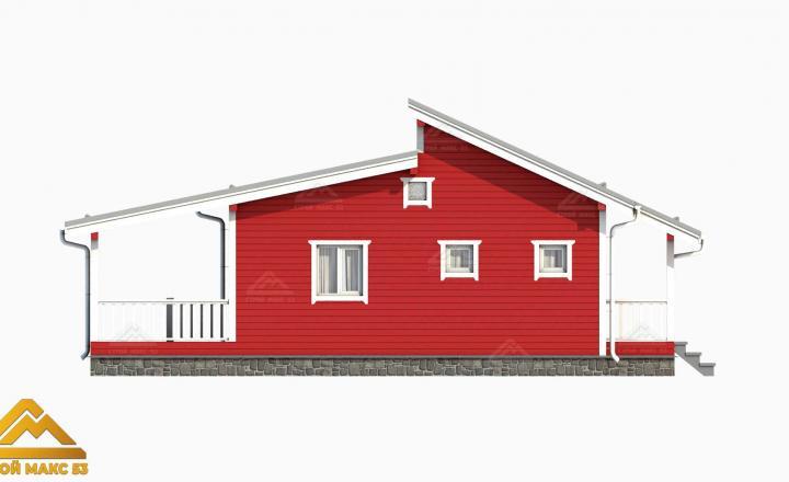 финский дом 3-д графика красный фасад