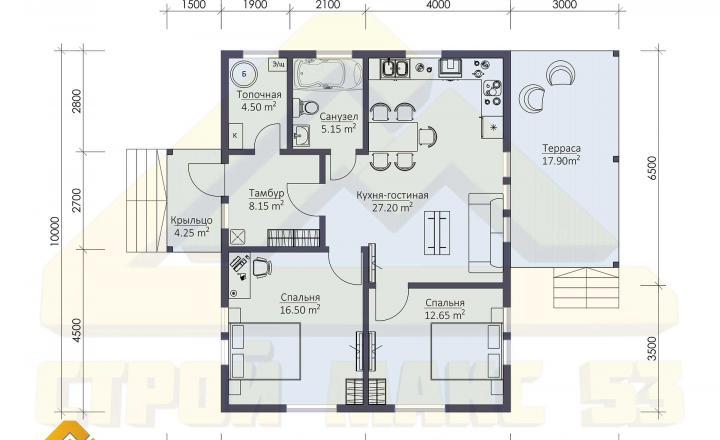 планировка финского дома 10 на 12