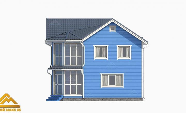 финский дом с балконом голубого цвета 3-д проект
