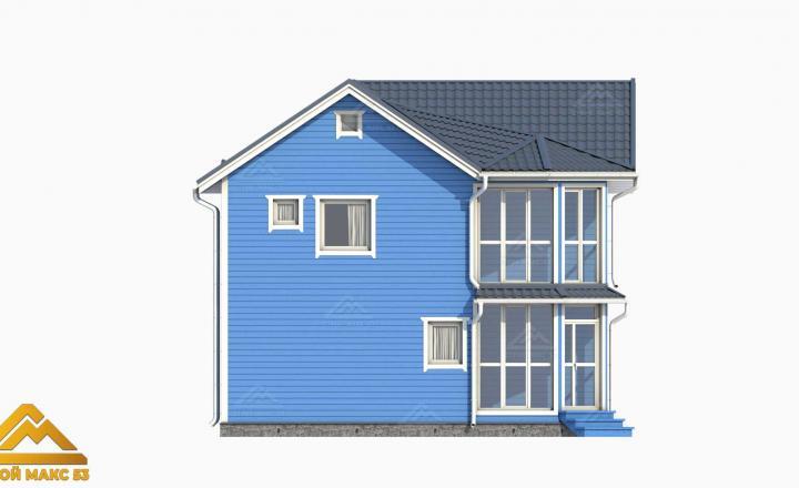 голубой фасад финский дом 3-д рисунок сбоку