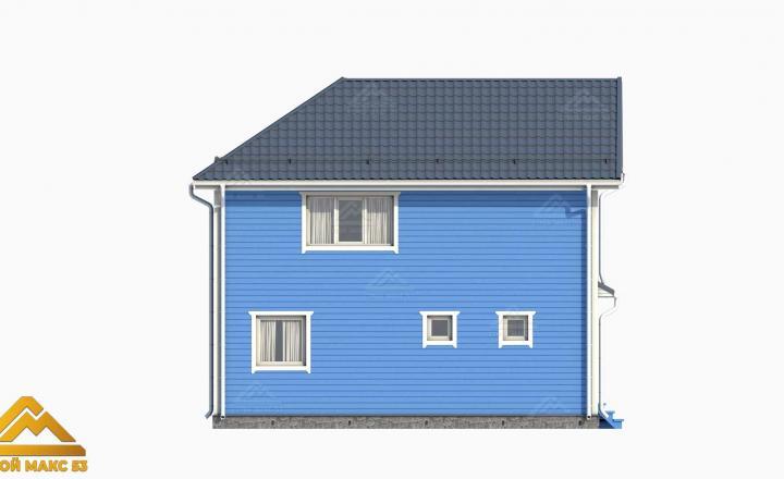 3-д план финского дома с голубым фасадом