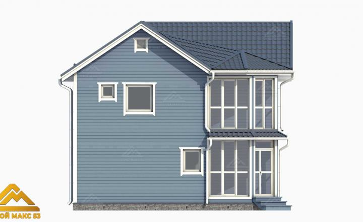 3-д проект финского дома с балконом 9 на 9