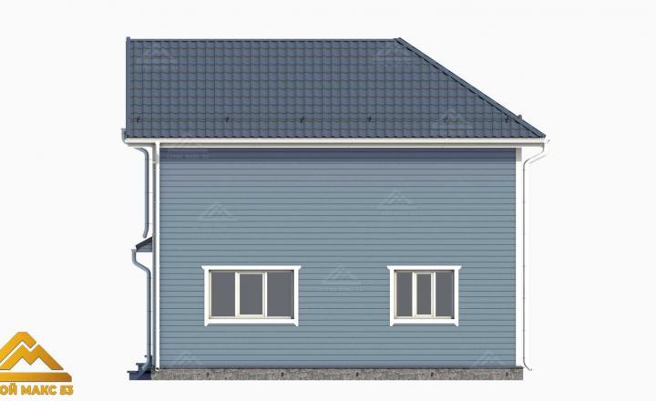 графический рисунок двухэтажного финского дома сбоку