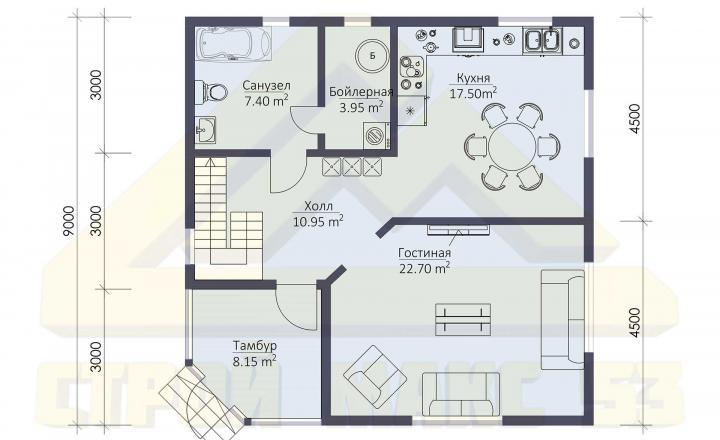 поэтажный план финского дома 9х9