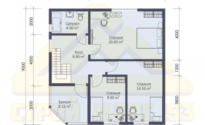 план второго этажа финского дома 9 на 9