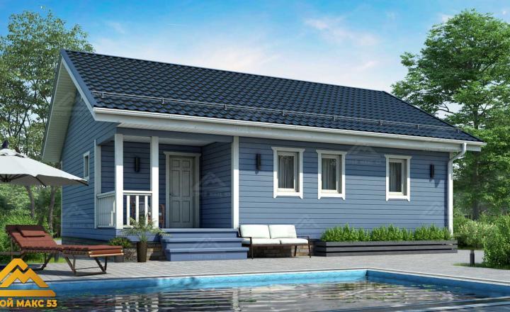 финский дом с голубым фасадом