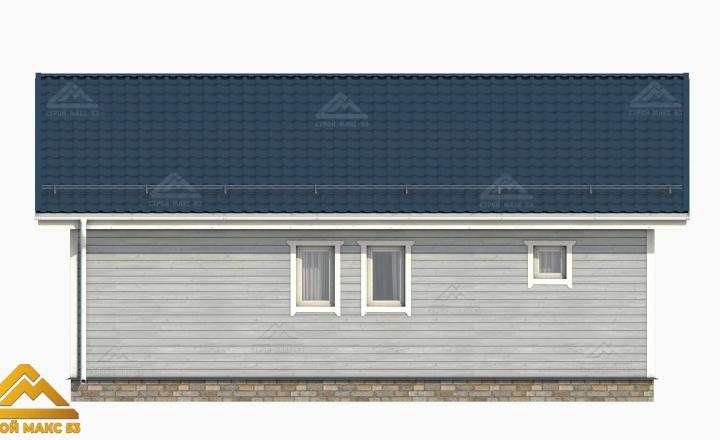 3-д модель фасада одноэтажного финского дома сзади