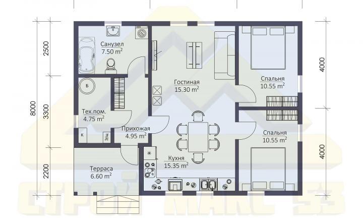 планировка финского дома с террасой 10 на 8