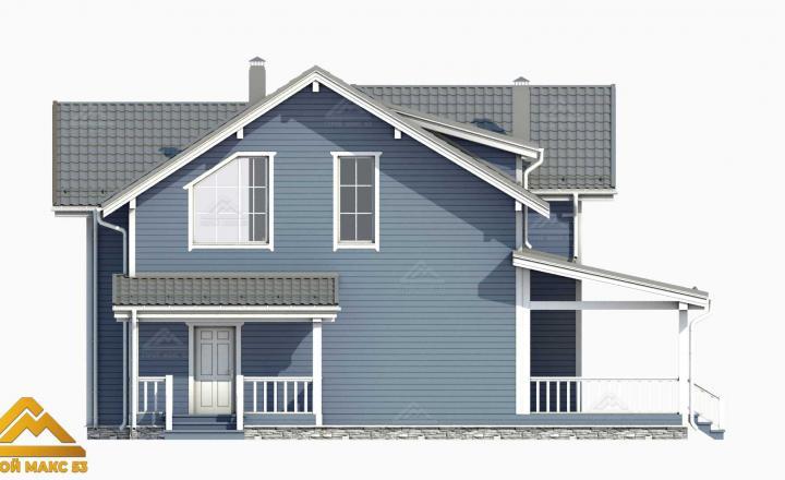 3-д фасад финского дома 14х17 с балконом вид сбоку