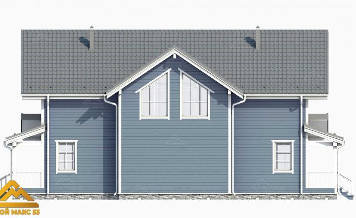 фасад финского двухэтажного коттеджа 3-д вид сбоку